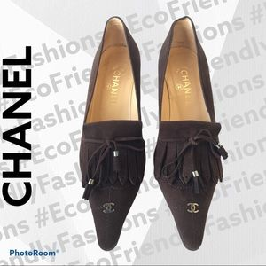 Chanel Brown Suede Fringe 'CC' Pointed Toe Pumps